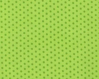 Fabric patchwork green polka dot spot on Kaufman