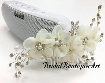 Chiffon flower comb,Wedding hair comb,Luxury hair comb,bridal hair comb,bridesmaid,Silver hair comb,Antique wedding hair comb,Rhinestone