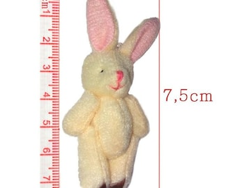 Beige rabbit plush size 7.5 cm for creation, birth or Easter decoration.