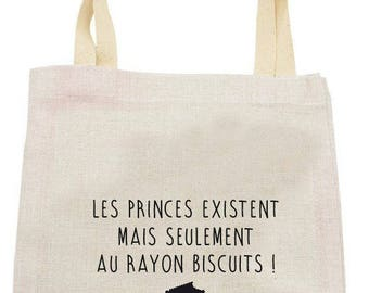 """LINEN TOTE BAG WITH """"PRINCES EXIST RAY COOKIES"""""""