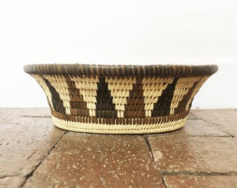 Oval Handwoven Triangle Motif Basket