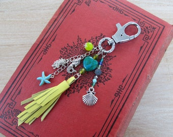 """Natural stones and leather """"Maldives"""" Pompom bag charm"""