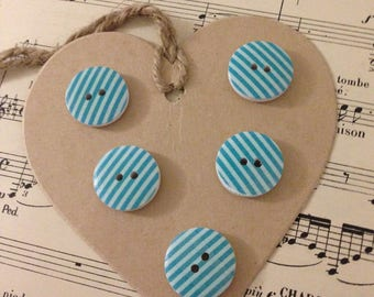 SET OF 5 BLUE STRIPES WOOD BUTTONS