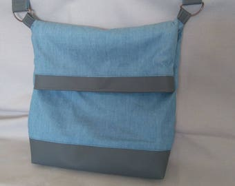 shoulder bag large leather and cotton denim