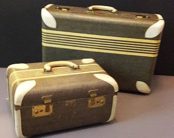 Art Deco 40's Luggage Paul Bunyan Set Dynamite Condition Full On Retro Rare