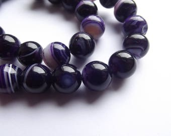 38 smooth round beads 10 mm purple agate KAYA 410