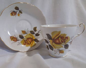 Yellow Rose teacup and saucer-, Recengy Bone China