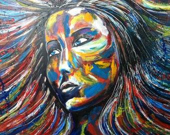 "SOLD painting oil on canvas ""street art portrait"""