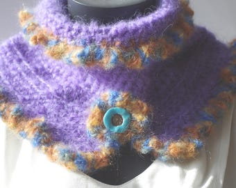Collar snood crocheted wool mohair purple and beige Brown Blue.