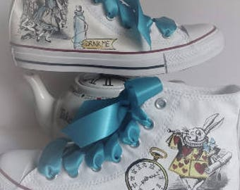 Alice in wonderland vintage style wedding  festive Converse shoes