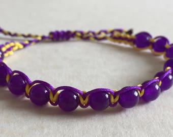 Amethyst Beaded Adjustable Macrame Bracelet