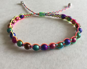 Rainbow Beaded Adjustable  Macrame Bracelet