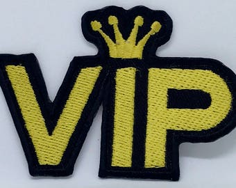 1273# New Letter VIP Icon Acrylic Iron on Sew on Embroidered Patch