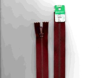 """Closure zipper""""metal"""" not separable Burgundy 20cm"""
