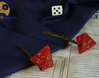 hairpins of playing geek red bronze d4 LARP pyramids handmade bobby pins 4 sided dice red roleplaying game handmade