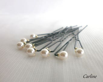 8 metal hair wedding hair style 6 mm ivory Swarovski crystal clear