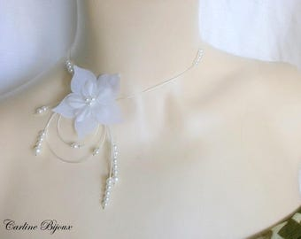 -Nude - Crystal bridal Silk Flower necklace Pearl White evening