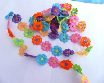 Lace polyester multicolored flowers