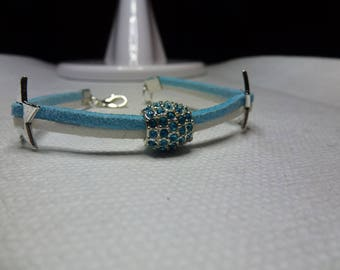 Blue and white suede bracelet