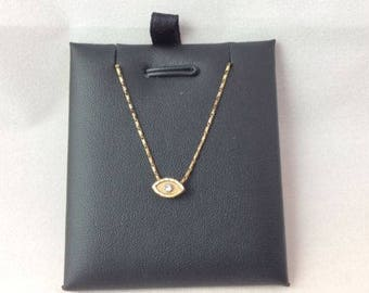 Women's 10k solid yellow Real Gold EVIL EYE cz pendant reversible with necklace 18'' 3gr