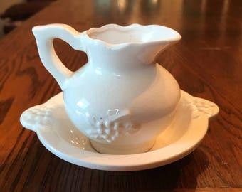 Milk Glass miniature pitcher with bowl