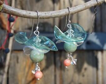 Silver earrings, recycled earrings, coral earrings, ethnic earrings, dangle earrings.