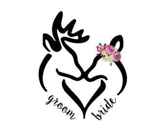 Buck/Doe Bride and Groom Logo (digital file)
