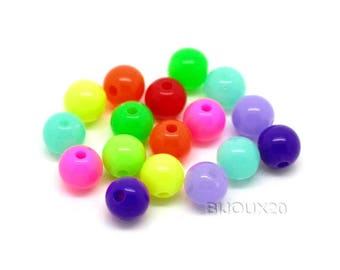 50 acrylic beads 8mm multicolor style neon M02214