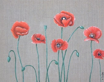 """Poppies"" painting on canvas"