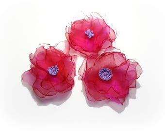 set of 3 hot pink and mauve organza flowers