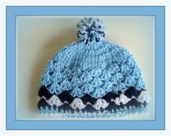 (hat) 0/3 month baby Hat handmade crochet with tassel, boy, gift, newborn, infant, by Captain Hook from 04