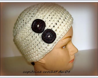 Cream hat in wool/toque/Hat woman/Hat woman/Hat/winter Beanie crochet Hat/crochet/handmade