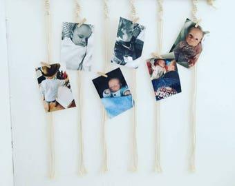 Macrame photo hanger