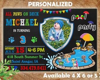 Paw Patrol Invitation, Paw Patrol Birthday Invitation, Paw Patrol, Paw Patrol Printable, Paw Patrol Birthday Card, Paw Patrol Pool Party