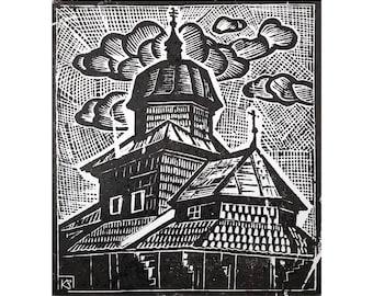 Etching of ukrainian artist Zenoviy Ketsalo  (1919-2010)