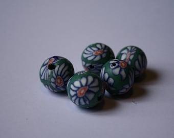 5 Fimo flower blue green beads 1.5 cm