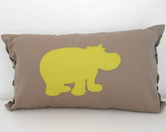 Hippo 30 X 50 cm - Taupe and Apple green pillow cover