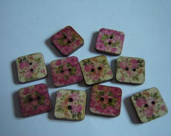 10 BUTTONS WOOD FLOWER SHAPED SQUARES / / 15 MM / / SET OF 15