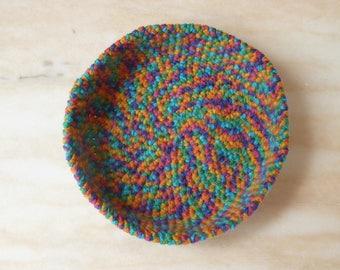 Empty basket pocket, multicolor crochet basket/bowl