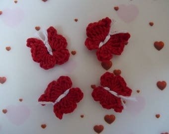 4 small butterflies, butterflies, red crochet cotton