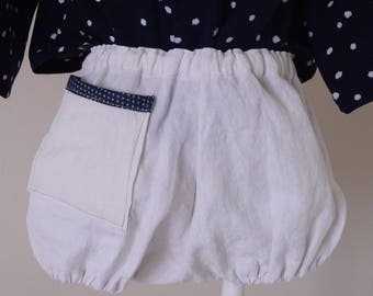 White linen bloomers, back pocket with small fancy