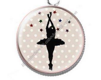 Pendant cabochon resin 8 ballerina dancer