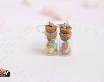 Handmade earring - Glass vials and colorful confetti