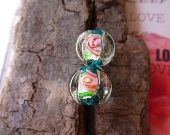 Pink Lantern pattern shape lampwork glass beads set of 2 jewelry creations, earrings, necklaces, bracelets, decoration