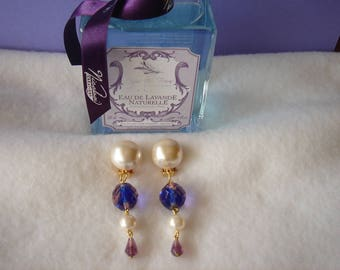 "Vintage earrings retro dangle earrings ""Lavender"" and Pearl earclips 7.5 cm for non pierced ears"