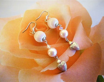 Earrings Pearl white silk and silver heart 6 cm