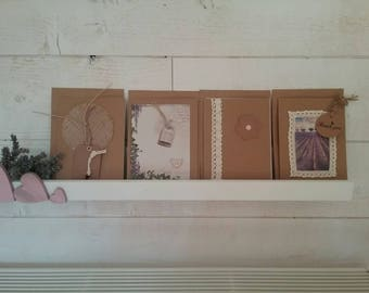 "Set of four cards with envelopes decorated kraft ""Lavender"""