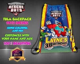 Transformers Rescue Bots Personalized Drawstring Backpack - Kids Personalized Gift Handbag Backpack Bag Canvas Handbag Hip Bag Handbag