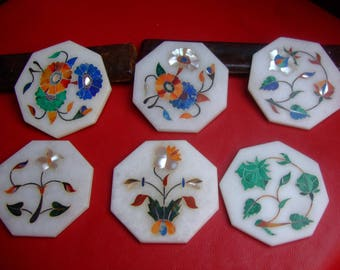 6 glass coasters Alabaster stone inlay