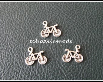 set of 3 charms charms bikes, bicycles silver 15 mm X 13 mm